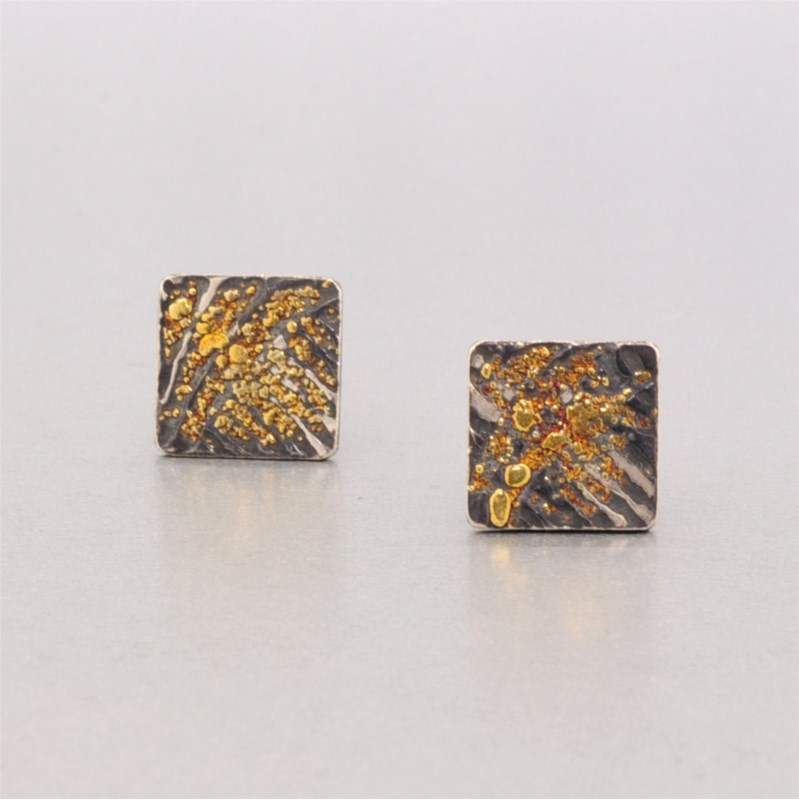 Oxi Silver and Gold Earrings by Wolfgang Vaatz