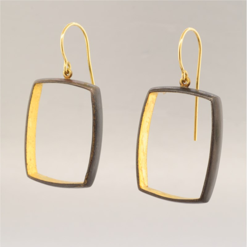 Oxi Silver and Gold Earrings by Eddie Sakamoto